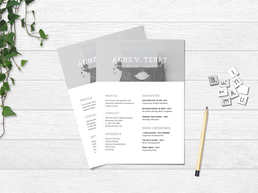 Free Copywriter Resume Template with Simple and Modern Look
