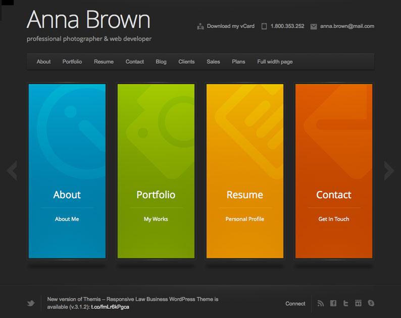 Cascade WordPress Theme - vCard Resume Template - Download - wordpress resume template
