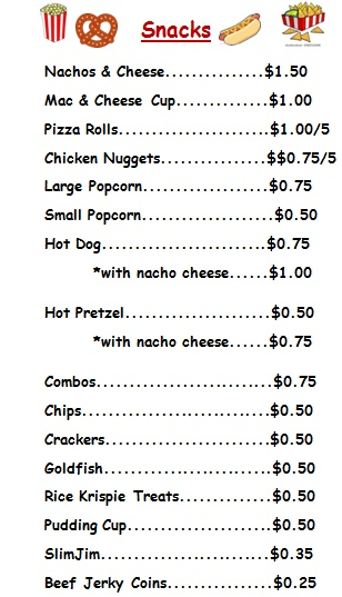 Fridays Menu Concession Stand – Boys & Girls Club Of St. Marys