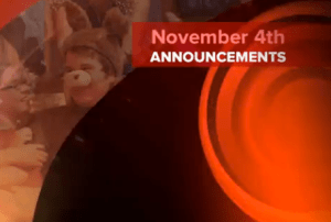 Daily Announcements: November 4, 2011