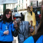 Junior Madison May had her picture taken with a street performer in Verona. Photo by Molly Howland.