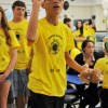 Exchange student, Peter Xu, attempts to break the Mole Toss record.