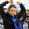 Junior Lancer Dancer Kaitlin Stewart performs at half time. Photo by Paloma Dickey