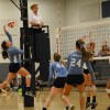Sophomore volleyball player spikes the ball. Photo by Hailey Hughes