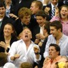 East students cheer after sophomore Joey Wentz's buzzer beater shot to win the game. Photo by James Wooldridge