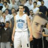Sophomore Joey Wentz looks at the student section after he is fouled. Photo by Marisa Walton