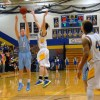 Sophomore Jay Guastello puts up a buzzer-beater three in double-overtime. The shot would not be enough: the Lancers still lost by one. Photo by James Wooldridge