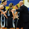 Senior Molly Ross and freshman Kyle Haverty talk to Coach Klumpe during a timeout. Photo by Tessa Polaschek