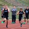 Senior Robert Harlan and Freshman Sky Tate  100 meter dash . By Katie Lamar