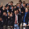 """The student section chants """"Air Ball!"""" at a Lawrence player. The student section theme was SEC GameDay. Photo by James Wooldridge"""