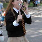 Senior Sarah Allegri calls out cheers to the senior class float.  Photo by Tess Iler