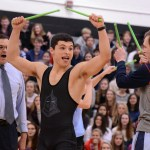 Senior Mike Bamford cheers when Principal McKinney announces that he won the competition. Photo by Morgan Browning