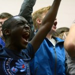 Senior Tevin Niang-Trost goes wild to support the senior class.  Photo by Tess Iler