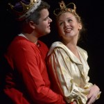 """Seniors Tyler Armer and Hannah Eldred sing """"Boys and Girls"""". They had the roles of Queen and King. Photo by Abby Blake"""