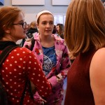 Seniors Leah O'Connor, Carlie Smith, and Kiera Hartl talk during the last part of Choir on Tuesday's pajama day. Photo by Morgan Browning