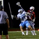 Sophomore Milton Braasch loses his stick after his opponent tries to block him. Photo by Kaitlyn Stratman