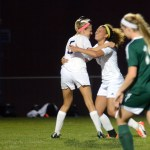 After Senior Elizabeth Shook's goal, Senior Georgia Weigel hugs her in celebration. Photo by Morgan Browning
