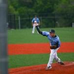 Sophomore Peter McMonigle pitching.
