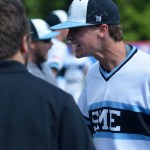 Junior Luke Anderson celebrates after striking out a batter. Photo by Joseph Cline
