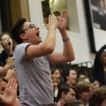 Senior Jacob DeSett cheers on Senior Shawn Overton during dance competition. Photo by Carson Holtgraves