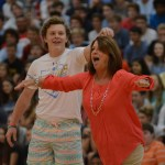 Senior Jake Randa twirls the new athletic director Mrs.Katzfey during the dance competition. Photo by Carson Holtgraves