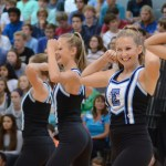Sophomore Piper Noblit winks at the crowd during her performance with the JV dance team. Photo by Ellen Swanson