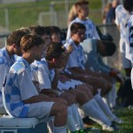 During half time, the team talks about their strategies on beating Shawnee Mission North West. Photo by Morgan Plunkett
