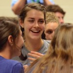 Freshman class president, Brigid Wentz laughs with her other freshmen stuco classmates during one of their activities. Photo by Grace Goldman