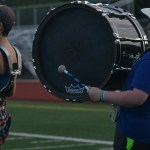 Sophomore Connor Dugan beats his drum, along with the rest of the drumline, at zero hours. Photo by Morgan Plunkett