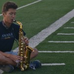 Senior Andrew Clark plays his saxophone for zero hours. Photo by Morgan Plunkett