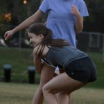 Junior Katie Faught practices tackling junior Emma Renwick. Photo by Sophie Storbeck
