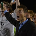 Junior Sam Ragland cheers after East scored. Photo by Izzy Zanone