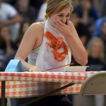 Sophomore Addie Vondrehle reacts to drinking cold tomato soup. Photo by Audrey Kesler