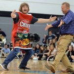 Teacher Mr. Laird and assistant principal Mr. Haney dance together during the dance competition. Photo by Audrey Kesler