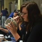 Senior Maddie DeTommaso shapes her tea pot project in ceramics. Photo by Morgan Plunkett
