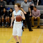 Junior Libby Frye dribbles down the court. Photo by Luke Hoffman
