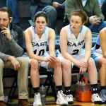 Coach Delaney and Coach Taylor, sit on the bench with juniors Caroline Blubaugh, Libby Frye, Toni England, and Katie Hise. Photo by Luke Hoffman