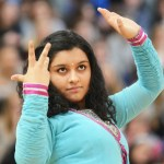Sophomore Aakriti Chaturvedi performs the routine she helped choreograph in Bollywood Dance club. Photo by Katherine Odell
