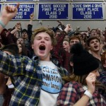 The whole SME student section cheers as the Lancers score more and more points near the end of the game. Photo by Diana Percy