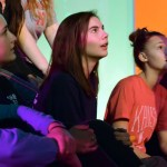"Junior Izzy Zanone, sophomore Annabelle Cook and freshman Colette Worthington watch Alexis ""Bubba"" Close as she teaches a new dance. Photo by Audrey Kesler"