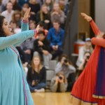Sophomore members of the bollywood dance club, Aakriti Chaturvedi and Anika Radadiya, perform a traditional bollywood dance. Photo by Grace Goldman