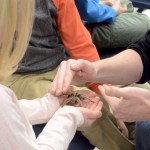 An Environmental Ed student carefully hands a Tarantula to the little girl. Photo by CJ Manne