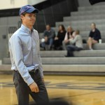 Disappointedly, senior John Arnspiger walks off the court after missing a shot which would have gotten him a free lunch from the principal. Photo by Celia Hack