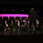 """Band director Alex Toepfer leads the Blue Knights Jazz Band as they perform """"La Suerte de los Tontos"""" by Johnny Richards. Photo by Haley Bell"""