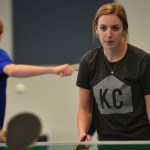 Awaiting a KCC player's return of the ball, senior Camille Moore decides what her next move will be. Photo by Libby Wilson