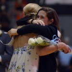 Junior Julia Stopperan hugs senior Haley Bell after the announcement. Photo by Izzy Zanone