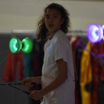 Freshman Sophie Sun performs a light-up-yo-yo show with two other girls during the Cabaret. After the show, she taught others how to use the yo-yos in a corner of the gym. Photo by Diana Percy