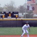 Freshman Robert Moore prepares to run to third base. Photo by Izzy Zanone