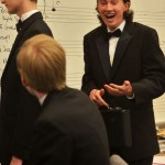 Freshman Joe Brown arrives at school for the concert and greets his friends. Photo by Libby Wilson