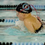Junior Grace Apodaca swims breastroke in her 200 IM. Photo by Luke Hoffman